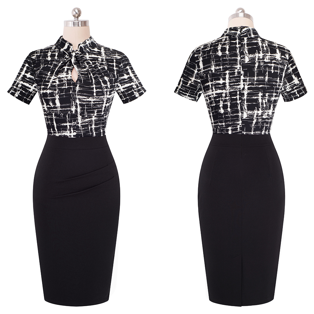 Elegant Work Office Business Drapped Contrasting Bodycon Slim Pencil Lady Dress Women Sexy Front Key Hole Summer Dress EB430 42