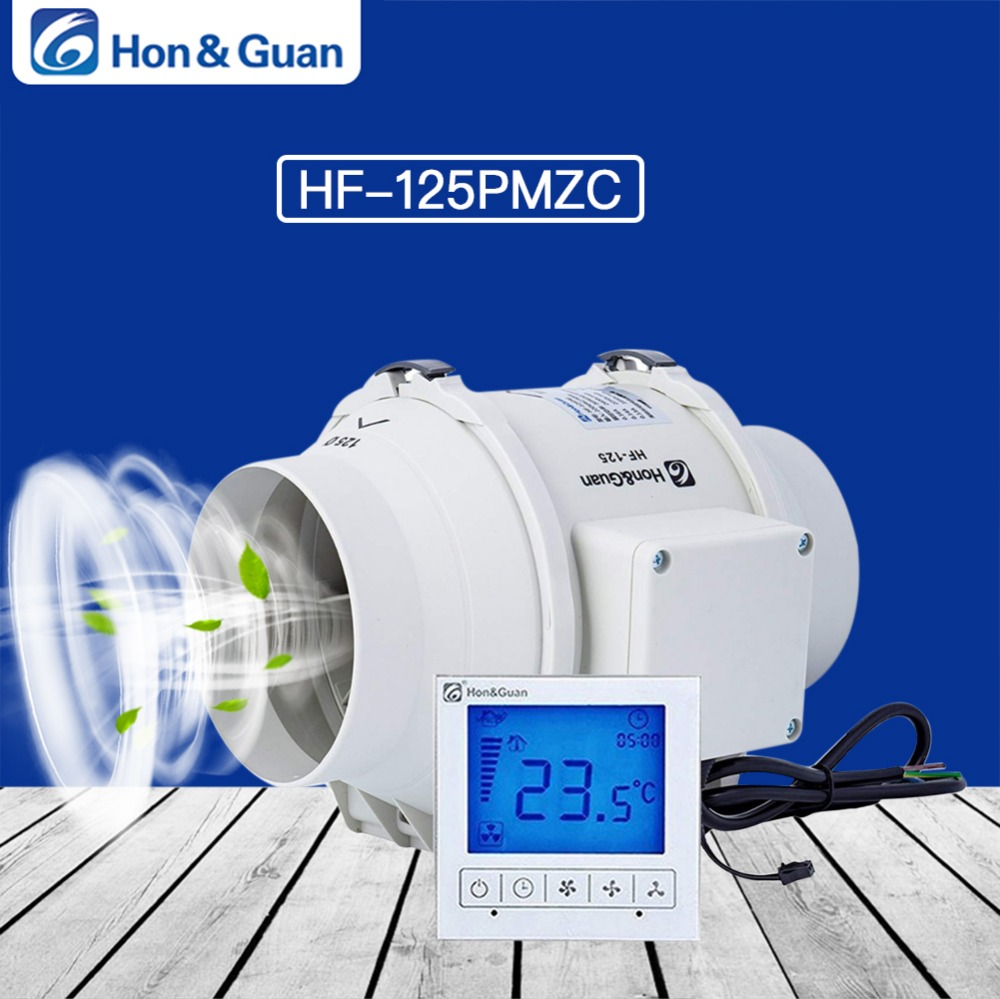 Hon Guan 5 Inch HF 125PMZC Timer Extractor Inline Duct Fan with Smart Switch 220 240V
