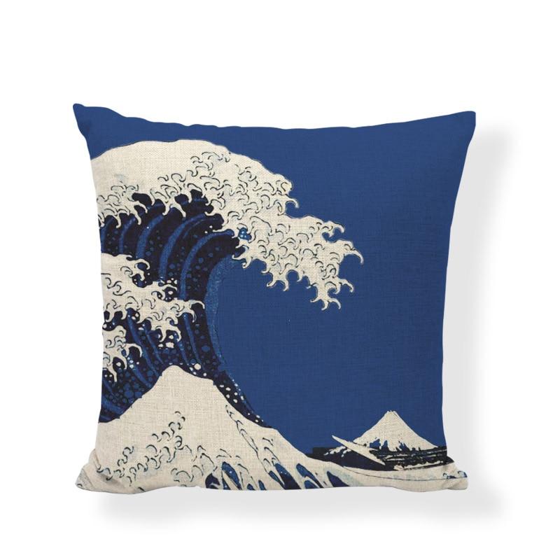 Kreative Japan Traditionellen Malerei Welle Meer Kissen Abdeckung Marke 45x45 cm Mountain Sonne Gestreiften Wohnzimmer Büro Decor möbel