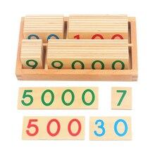 赤ちゃんのおもちゃモンテッソーリ数学のおもちゃ小型デジタル木製カードとボックス (Nmuber 1 9000) 教育アーリーラーニング玩具クリスマスギフト