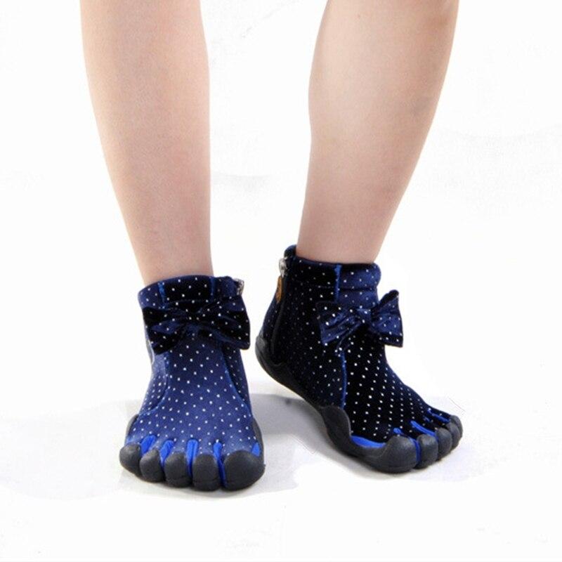 Five Finger Women Walking Shoes Bow Toe Sport Shoes Non-slip Rubber Comfortable Outdoor Shoes Autumn Winter Size 36-40 #B1969