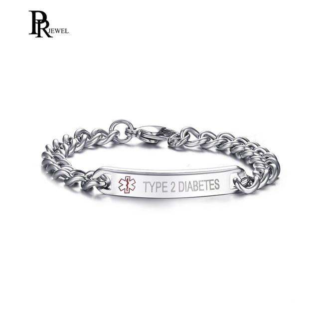 Type 1 2 Diabetes Bracelet Stainless Steel Link Chain Medical Alert Id For Women Customize