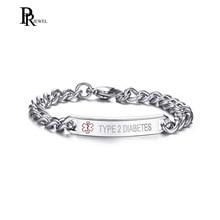 TYPE 1 2 DIABETES Bracelet Stainless Steel Link Chain Medical Alert ID Bracelet for Women Jewelry Gift