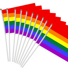 11.11 10pcs/pack 14*21cm gay pride Small national flag rainbow hand waving flags With Plastic Flagpoles For Sports Parade Decor(China)