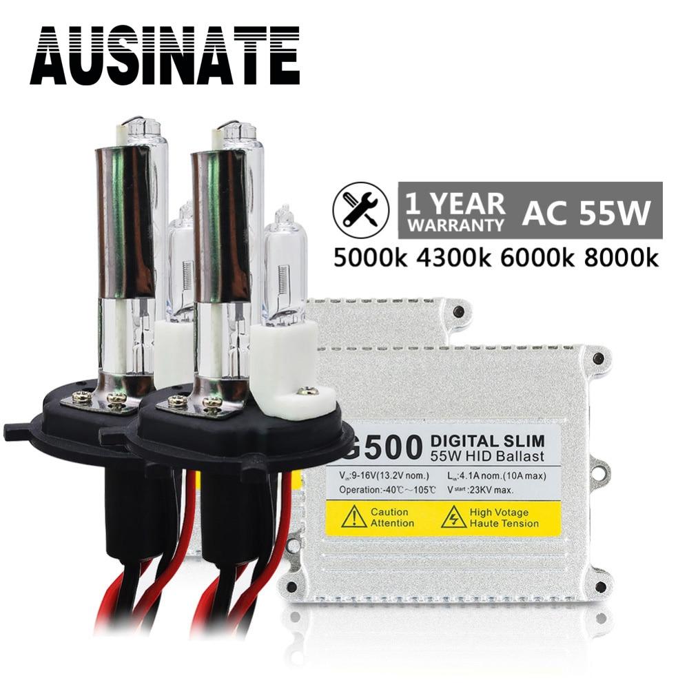 Kit de bombilla de xenón AC 55W H4 Lámpara de luz frontal para - Luces del coche