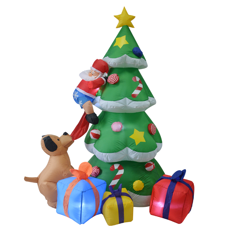 210cm Giant Inflatable Christmas Tree with Gift Boxes Puppy Bites Santa Claus Climbing Tree Toys Mascot Party Props Yard Decora