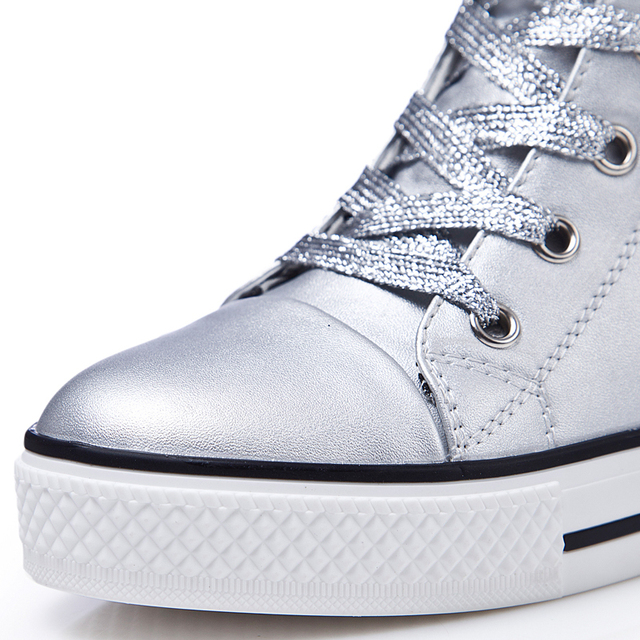2017 Women Platform Casual Shoes Woman Leather Wedge Ankle Boots High Increasing High Top Shoes Thick Soled Hidden Heel Trainers
