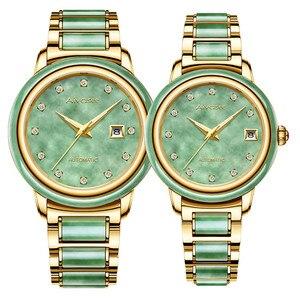 Image 3 - Luxury Real Jade männer Handgelenk Uhren Edelstahl Automatische Mechanische Uhr 30M Wasserdichte Kalender Männer Uhr uhren hombre
