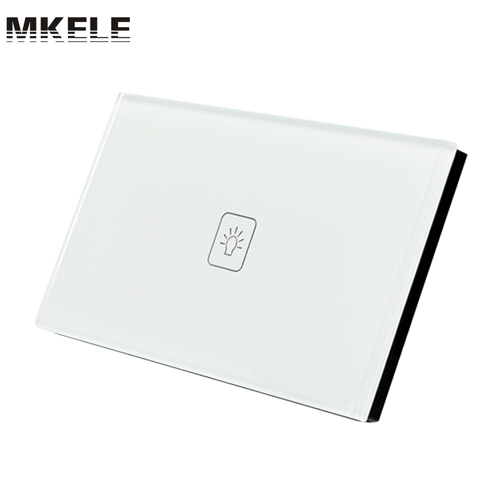 Touch Wall Switch 1 Gang 2 Way White Crystal Glass Panel US Standard Light Switch Screen for Lamp us standard smart home touch switch 1 gang 1 way white crystal glass panel light switch wall switch