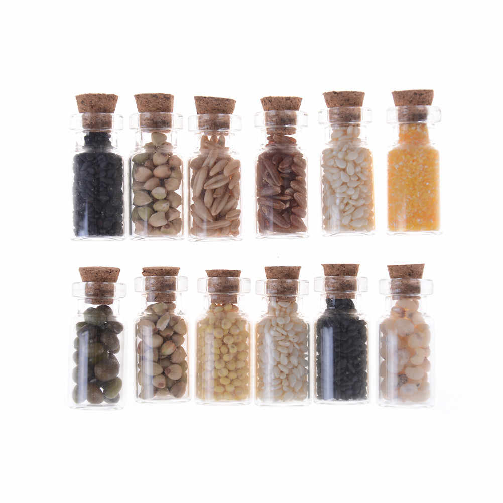 4pcs/lot Glass Jar with Dried Food Lid for Kitchen Accessory Dolls Accessories Furniture toys 1/12 Dollhouse Miniature