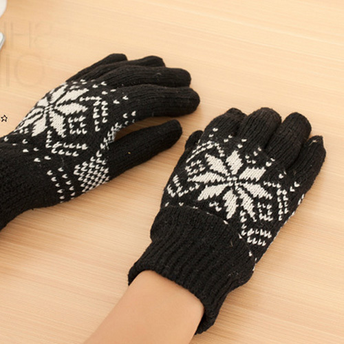 Men Black Gray White Snowflake Pattern Wool Knit Winter Gloves Free