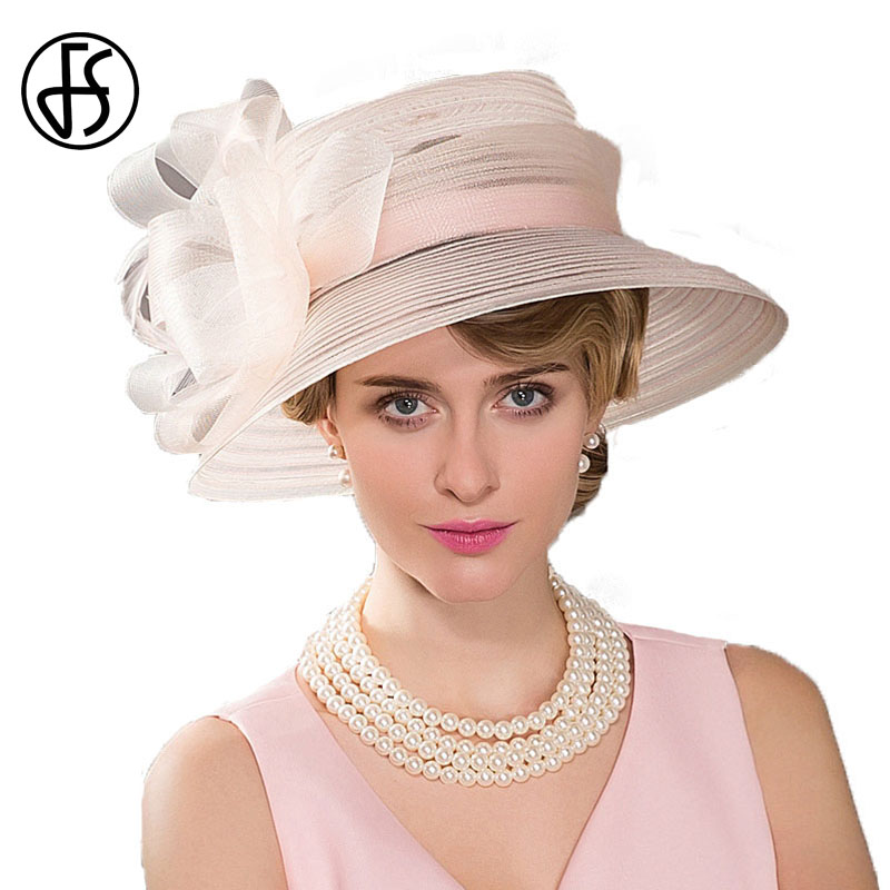 FS Wide Brim Ladies Hats Wedding Bowknot Feather Fedoras Pink Kentucky  Derby Hoeden Summer Church Hat For Women 19c7f6530fe