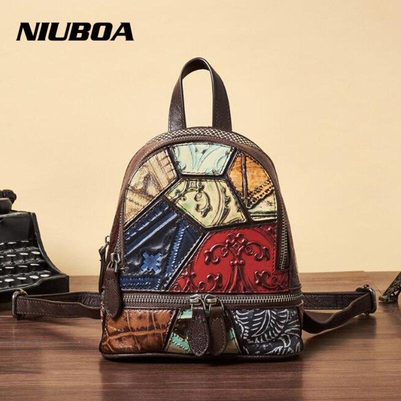 NIUBOA en cuir véritable femmes sac à dos conception spéciale épissure voyage sacs à dos petit multifonctionnel école sac à dos sacs à bandoulière