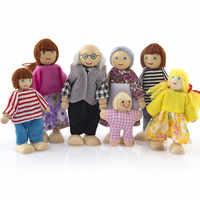 Família Casa de Bonecas Móveis Em Miniatura de madeira Jouets pour enfants 7 Pessoas Boneca de Brinquedo Para O Miúdo Criança Brinquedos infantis