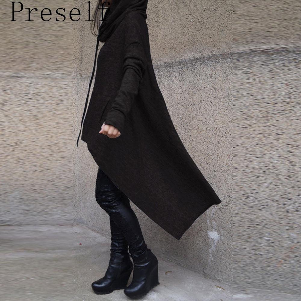 Preself oversize hoodie sweatshirt women casual outwear hoody tops female loose long sleeve mantle hooded cover