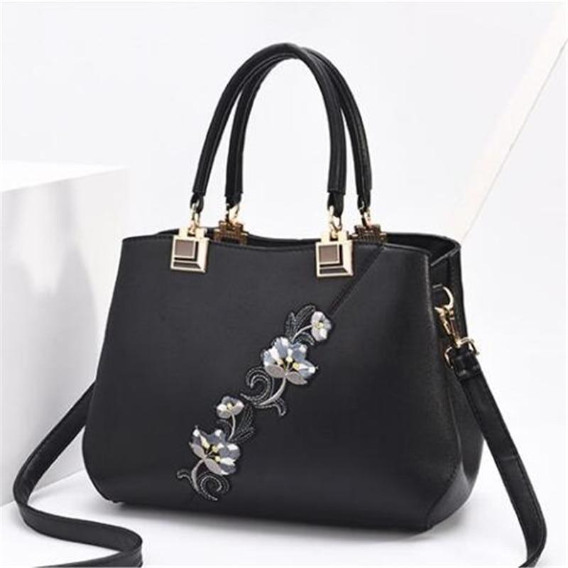 Модные женские Сумки из искусственной кожи, сумки с вышивкой, брендовая роскошная сумка на плечо, хит цвета, ручная сумка с верхней ручкой, сумка-почтальон с цветами