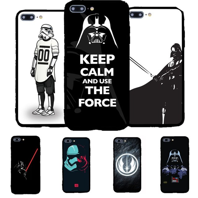 buy popular e57e2 0fa86 US $2.27 24% OFF|Cool Star Wars The Force Awakens Darth Vader Film Pattern  Silicone Edge Hard Phone Case Cover Coque Gel For iPhone 7 6 plus 5 SE-in  ...