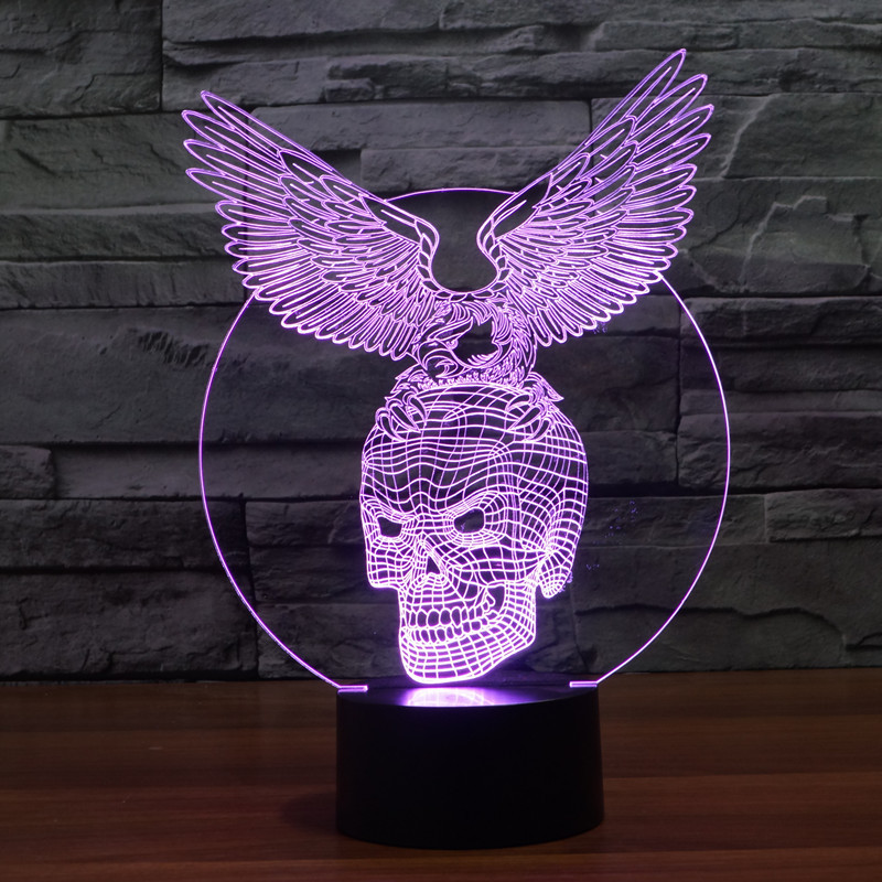 3D Atmosphere lamp 7 Color Changing Visual illusion LED Decor Lamp Eagle stand Skeleton Home Table Decoration for Child Gift