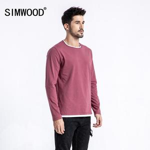 Image 1 - SIMWOOD 2019 autumn New Fake Double Layered T Shirt Men Long Sleeve 100% Cotton Fashion Tops High Quality Slim Fit Tees 180109