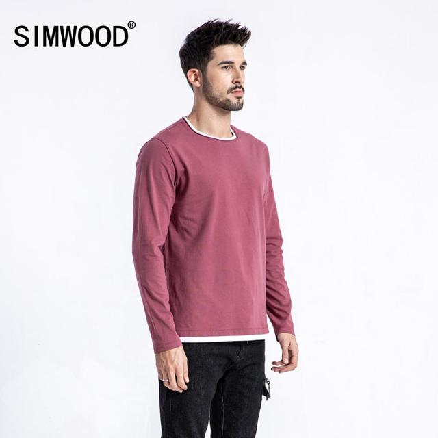 SIMWOOD 2019 autumn New Fake Double Layered T Shirt Men Long Sleeve 100% Cotton Fashion Tops High Quality Slim Fit Tees 180109