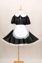 New Arrival Sissy Maid Satin Lace Dress Uniform Gothic Lolita Dresses Custom Made