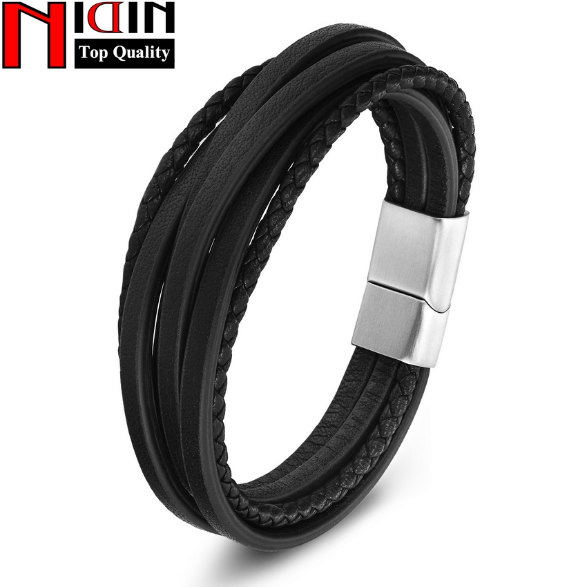 NIDIN 2017 men Jewelry Brown Genuine Leather Bracelets & Bangles Mens Bracelets Stainless Steel Braid Leather Bracelet for women buy mens string bracelets