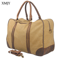 XMJY Travel Bags Vintage Military Canvas Leather Luggage Bag Large Capacity Weekend Duffel Bag Big Tote