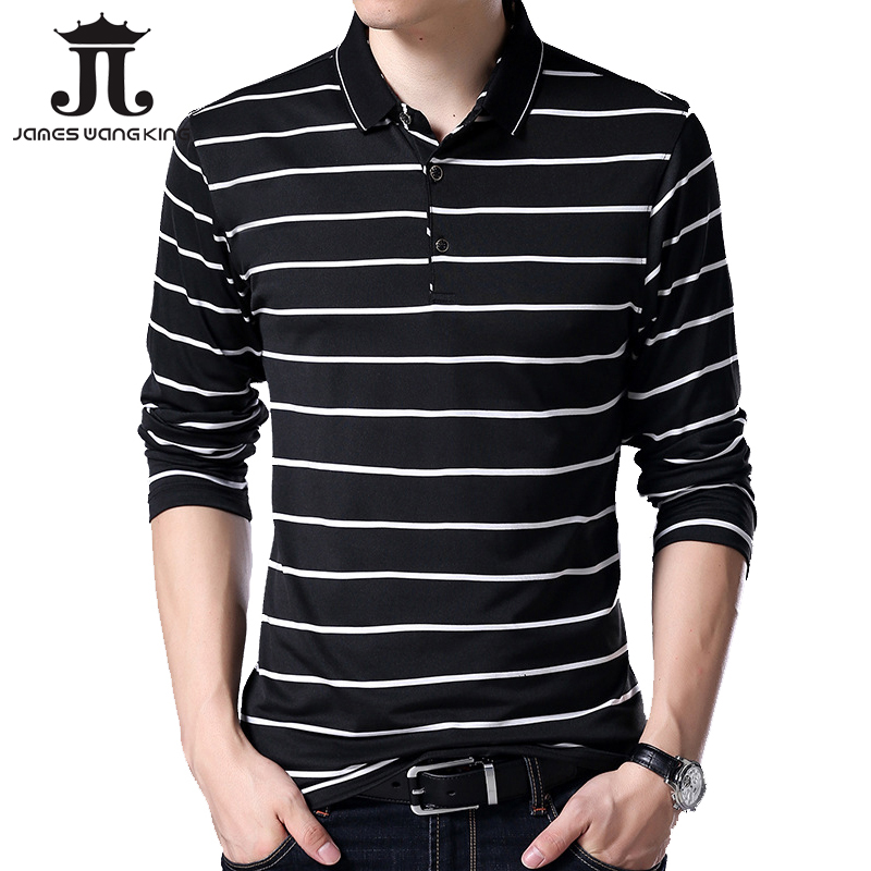Spring 2018 New long   polo   men shirt 95% cotton Fashion Breathable Slim Stripes   polo   for men high quality clothing M-3XL