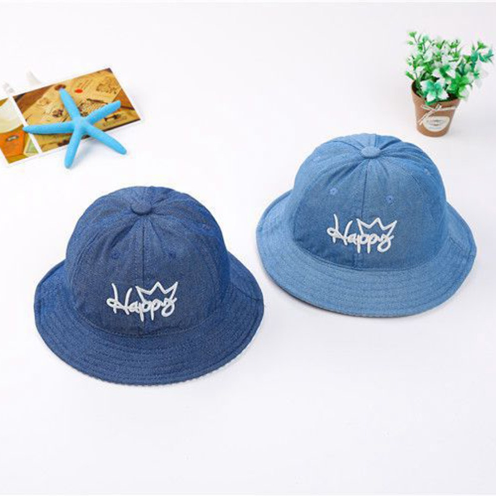 b34e6b1454c41 Puseky Blue Boys Girls Jeans Hats Baby Cartoon Happy Letter Hats Children  Spring Summer Sun Hats Infants Bucket Caps Denim Hats