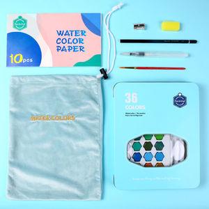 Image 4 - צבע בצבעי מים סט 36 צבע בצבעי מים צבע תלמיד מצויר ביד נייד ציור סט ברזל תיבת מים צבע אמנות ספקי