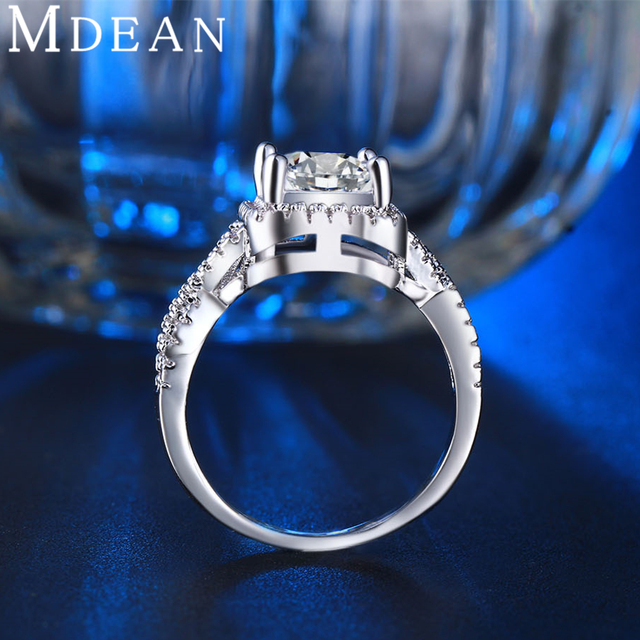 MDEAN White Gold Color Rings for Women Wedding Ring Women Rings Clear AAA Zircon Jewelry Fashion Ring Size 5-12 MSR136 3
