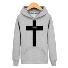 YEEZUS Cross New Hooded Autumn/Winter Men Gray/Black Hoodies in Mens High Quality Cotton Sweatshirts boy 3xl
