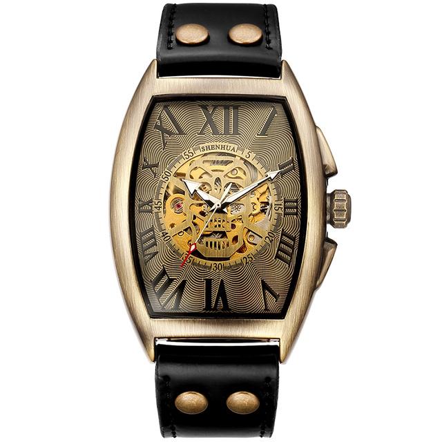 Transparent Skeleton Automatic Mechanical Watch Men Genuine Leather Belt Top Brand Luxury Self Winding Mens Retro Watch Clock