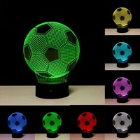 Creative 3D Illusion Lamp LED Night Lights 3D Football Discoloration Colorful Atmosphere Lamp Novelty Lighting