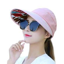 4e221f60608 Summer Sun Protection Folding Sun Hat for Women Wide Brim cap ladies girl  holiday UV Protection Sun Hat Beach Packable Visor Hat