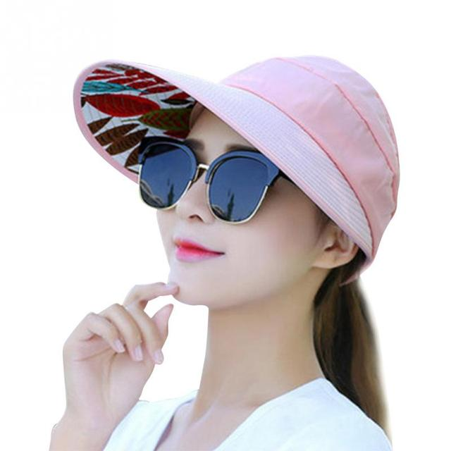 957b52657 US $2.93 22% OFF|Summer Sun Protection Folding Sun Hat for Women Wide Brim  cap ladies girl holiday UV Protection Sun Hat Beach Packable Visor Hat-in  ...