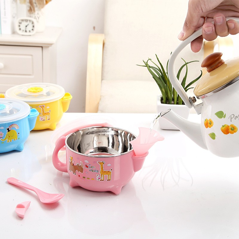 Stainless Steel Mixing or Food Bowl Set with Lids Heat Insulation Stainless Steel Bowls of Lunch Box  (5)