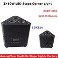 16XLot новейший 38 Вт Мини светодиодный треугольный эффект света хорошее качество 3X10W RGBW 4IN1 луч мыть стробоскопические огни с ИК-пультом новый д...