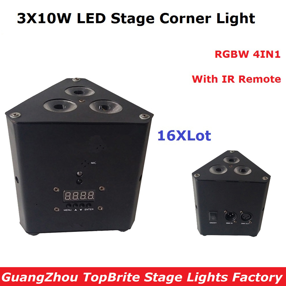 16XLot Newest 38W Mini LED Triangle Effect Light Good Quality 3X10W RGBW 4IN1 Beam Wash Strobe Lights With IR Remote New Design good quality dental cordless endo motor with led light treatment 16 1 reduction contra angle