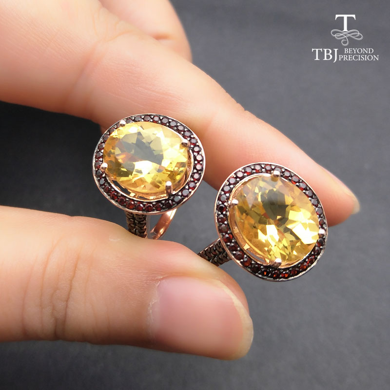 TBJ 100 natural 10 12mm oval cut citrine rings for women 925 Sterling Silver Ring Fine