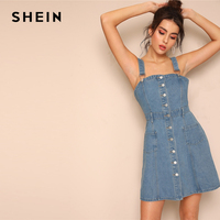 SHEIN Preppy Blue Button Front Denim Overall Tunic Dress With Adjustable Strap Summer Sleeveless Modern Lady Women Dresses