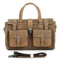 J.M.D Crazy Horse Leather Travel Double Handbags Luggage Dufflel Bag 6001B