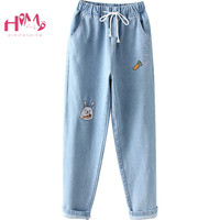 Japanese Kawaii Bunny Denim Pants Vintage Jean Trousers Women High Waist Stretch Cute Rabbit Embroidery Teen Girl Cowboy Clothes