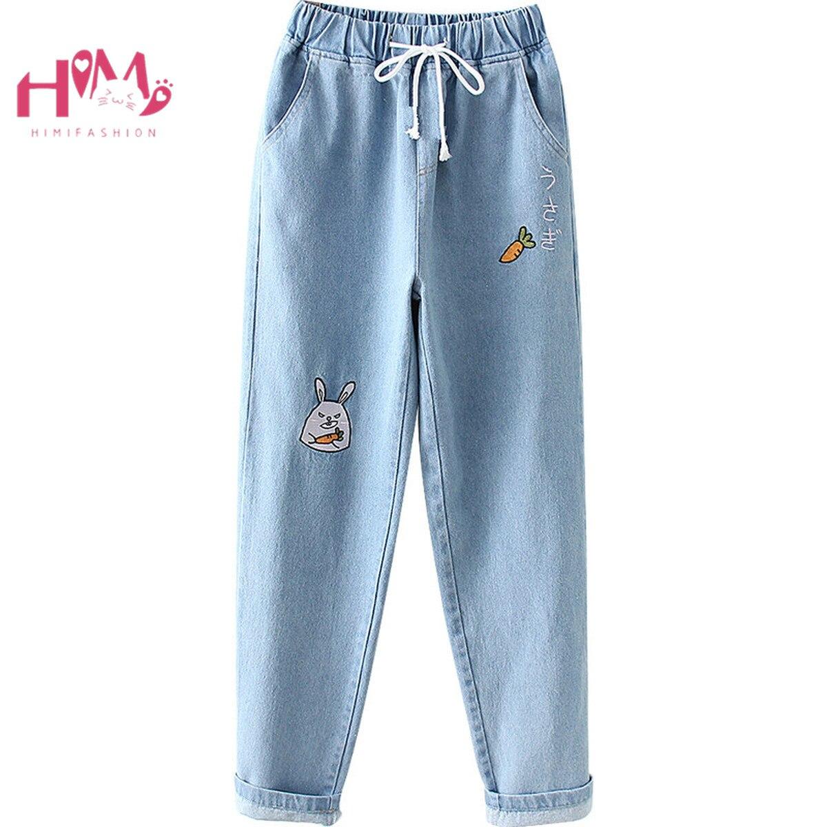 Женские винтажные джинсы Kawaii, ковбойские брюки с высокой талией и вышивкой в виде милого зайчика Брюки       АлиЭкспресс