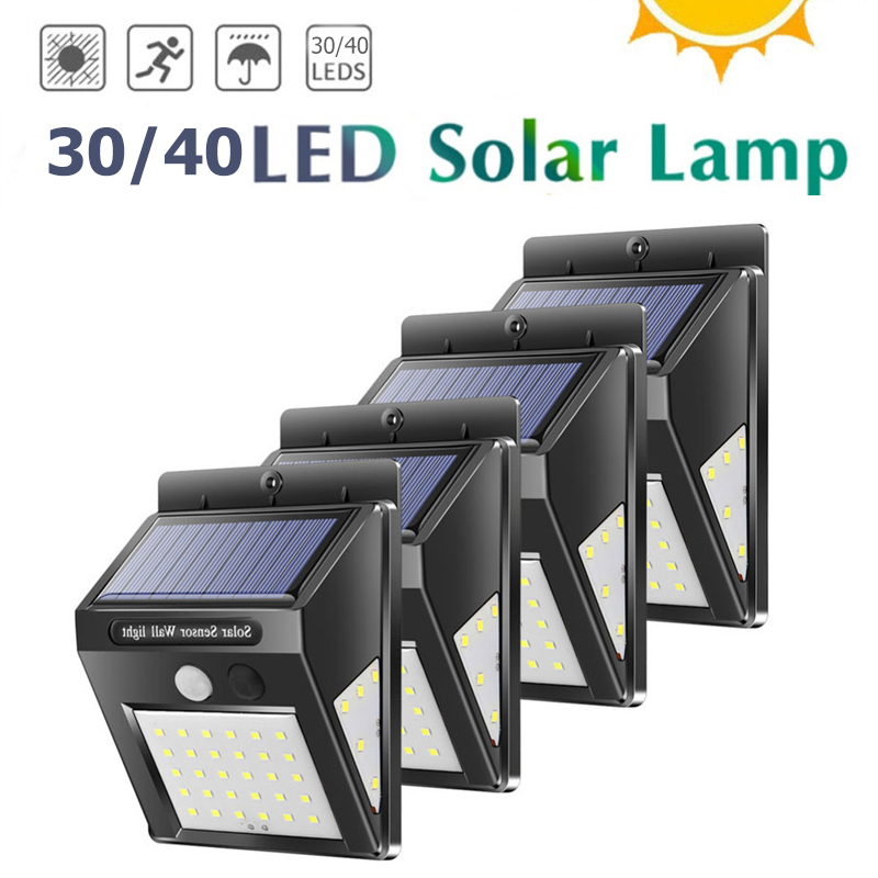 30/40 LED Outdoor Solar Wall Lamp PIR Motion Sensor Waterproof Light Garden Light Path Emergency Security Light 3 Sided Luminous