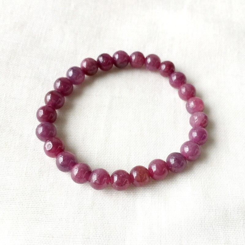 Natural genuino púrpura rojo rubí elástico acabado pulsera cuentas redondas 7mm-in Pulseras y brazaletes from Joyería y accesorios    1