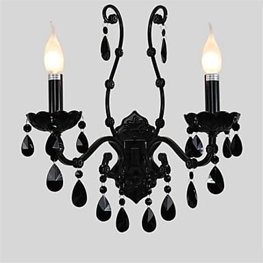 Wall Sconce,Modern Black Crystal LED Wall Lamp Light With 2 Lights For Bed Living Room Home Lighting Free Shipping