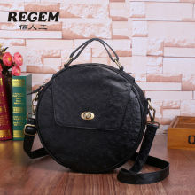 REGEM head layer cowhide high-end women's atmosphere shoulder worn round bag type package