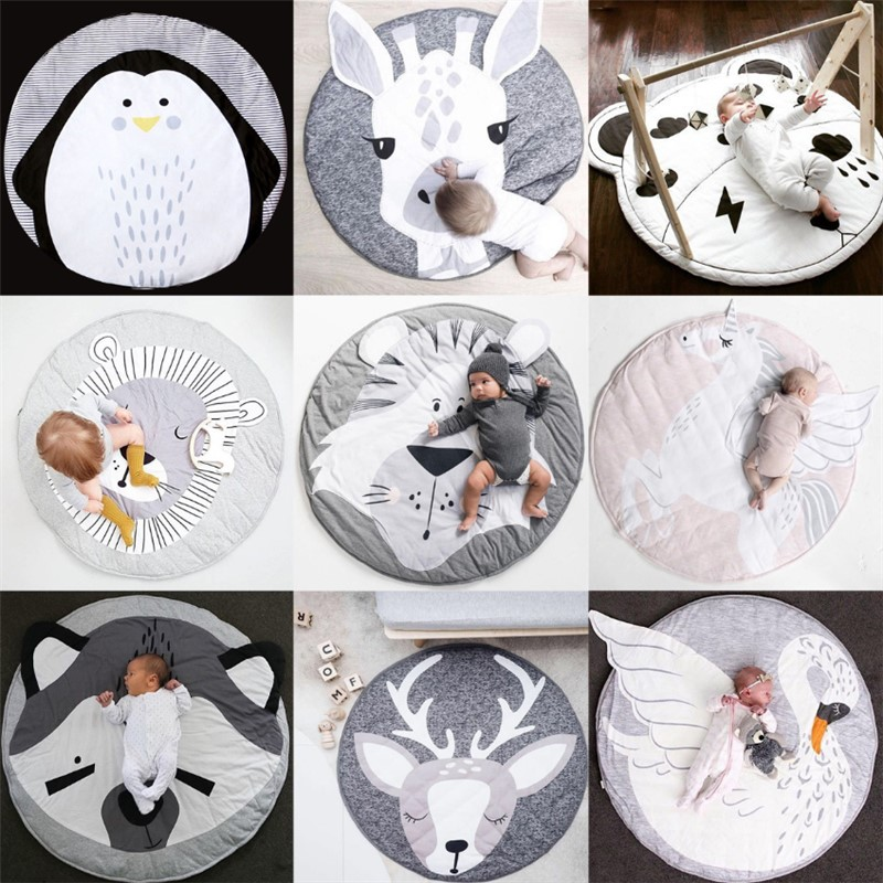 Baby Play Mats Toddler Crawling Blanket Pad Round Carpet Rug Toys Mat For Kids Room Decor Photo Props