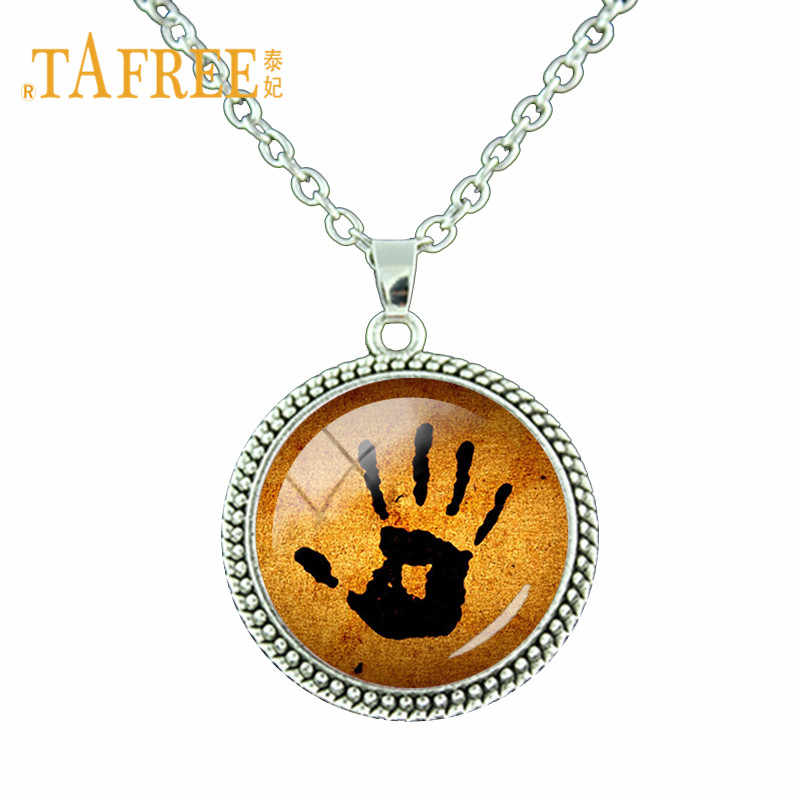 TAFREE Skyrim Dark Brotherhood Mysterious Note Necklace Glass Gems Hand Plam Pendant Necklace For Men Women Jewelry Gift HD13